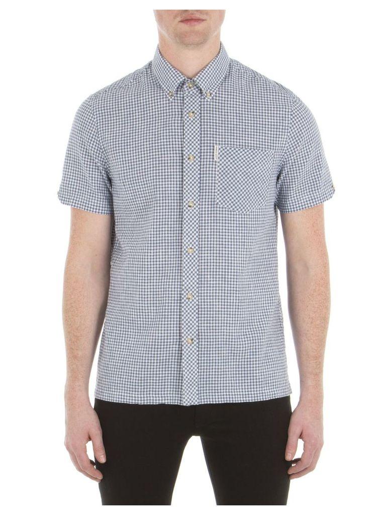 Short Sleeve Linen Gingham Shirt XXS A10 Bering Sea