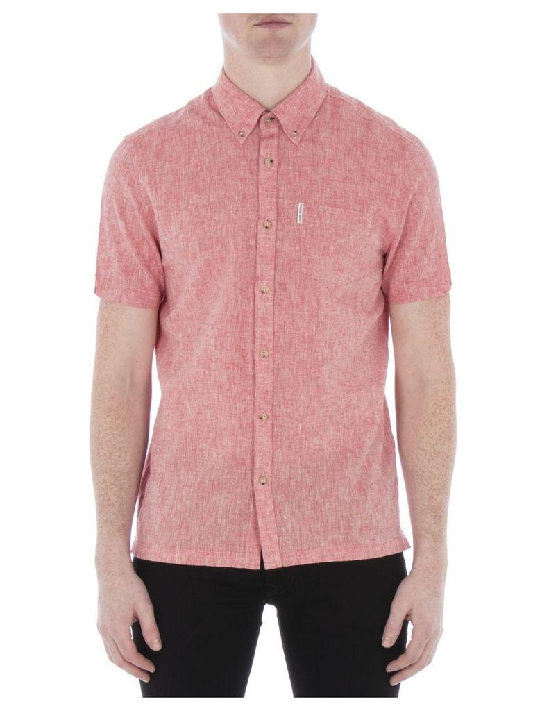 Short Sleeve Linen Shirt XXS D87 Letterbox Red