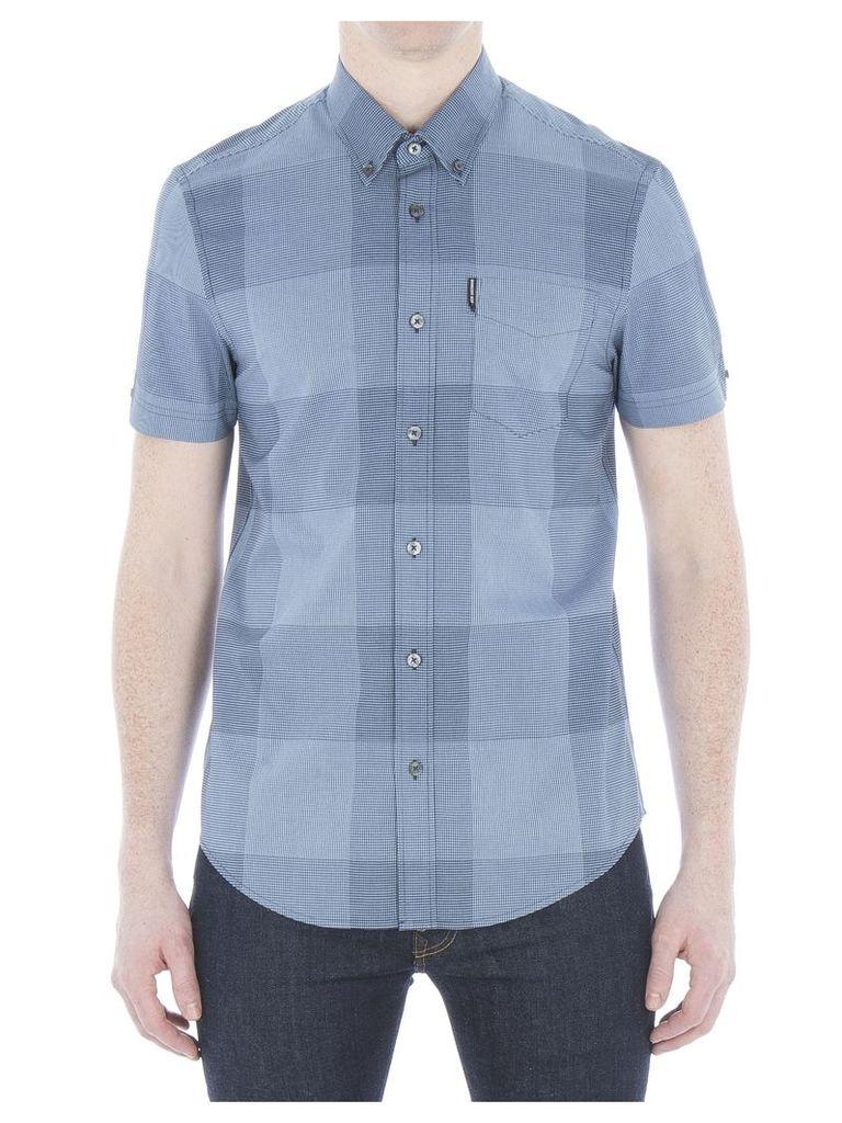 Short Sleeve Textured Micro Gingham Shirt XXS EN5 Cornflower