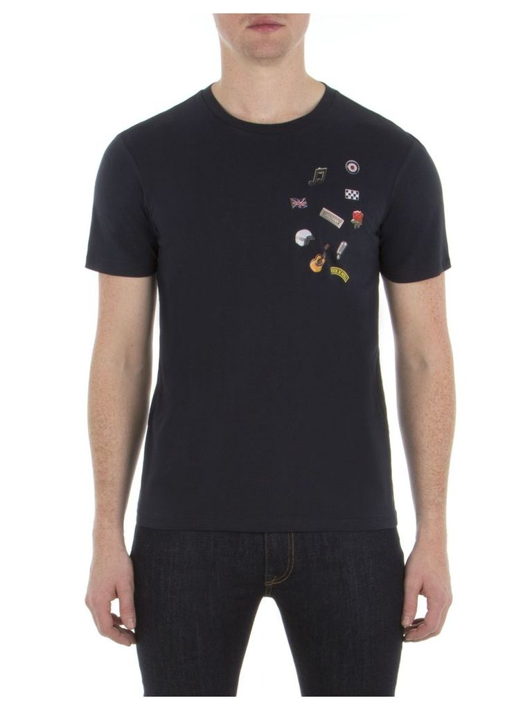 Pin Badge T-Shirt XXS EF5 Staples Navy