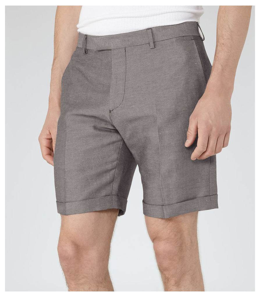 REISS Meadow - Linen And Cotton Shorts in Grey, Mens
