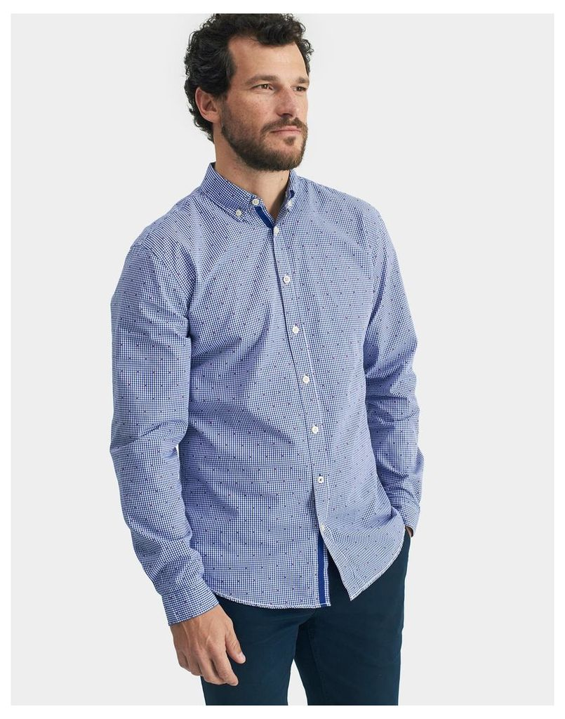 Blue Gingham Dobby Coleridge Slim Fit Shirt  Size L | Joules UK