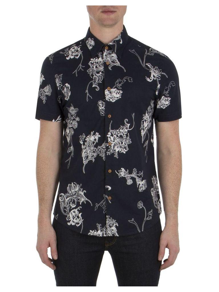 Short Sleeve British Hawaiian Shirt XXS B51 Navy Blazer