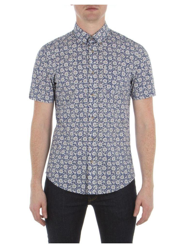 Short Sleeve Bandana Floral Shirt XXS EP7 Admiral Blue