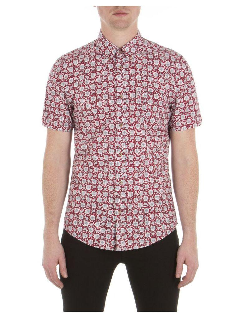 Short Sleeve Bandana Floral Shirt XXS 149 Red