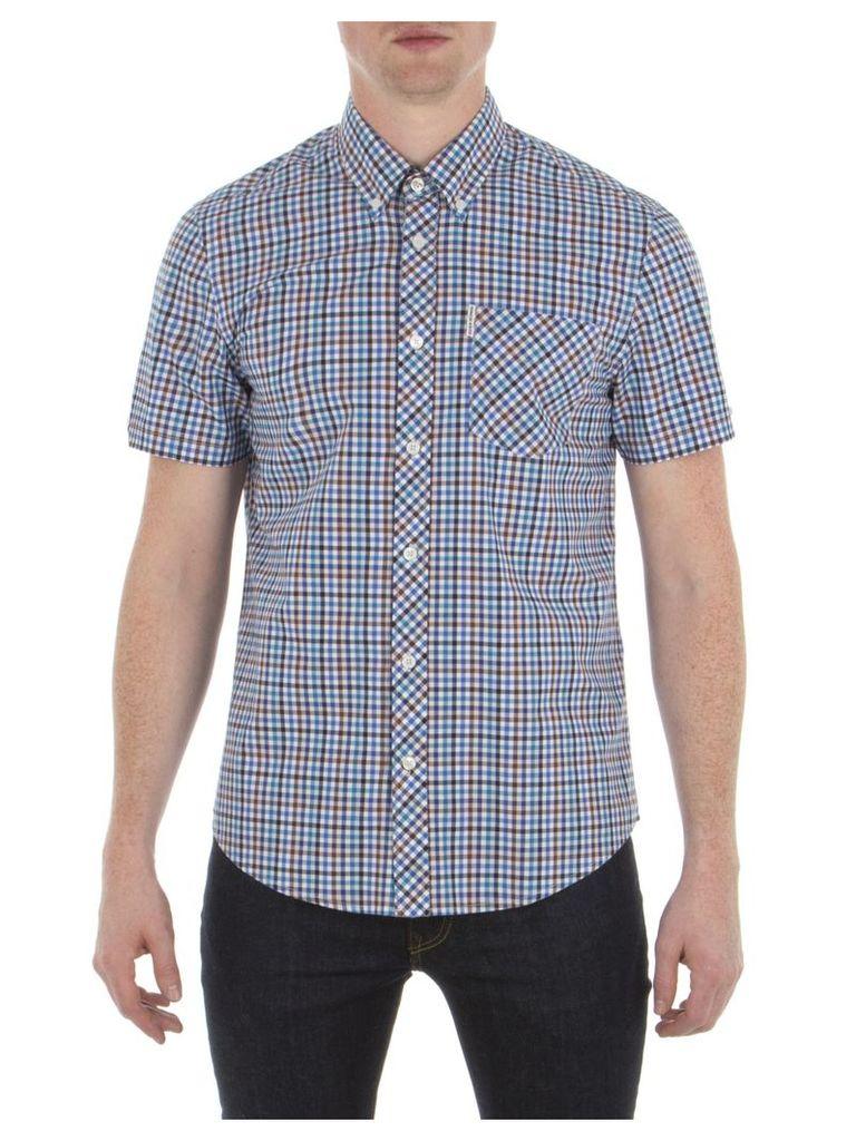 Short Sleeve Multicolour Gingham Shirt XXS P14 Summer Blue