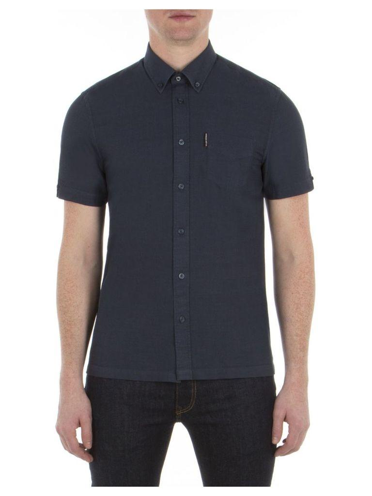 Short Sleeve Slub Twill Shirt XXS EF5 Staples Navy