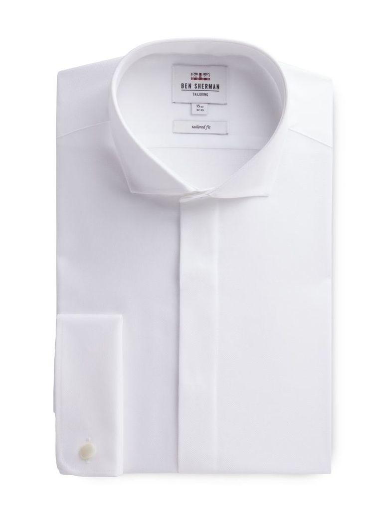 Long Sleeve White Textured Formal Shirt 18 White