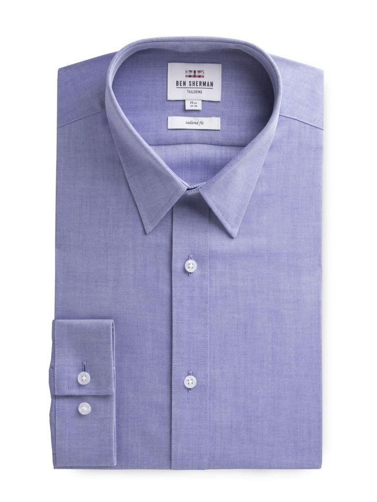 Long Sleeve Blue Twill Formal Shirt 18 Blue