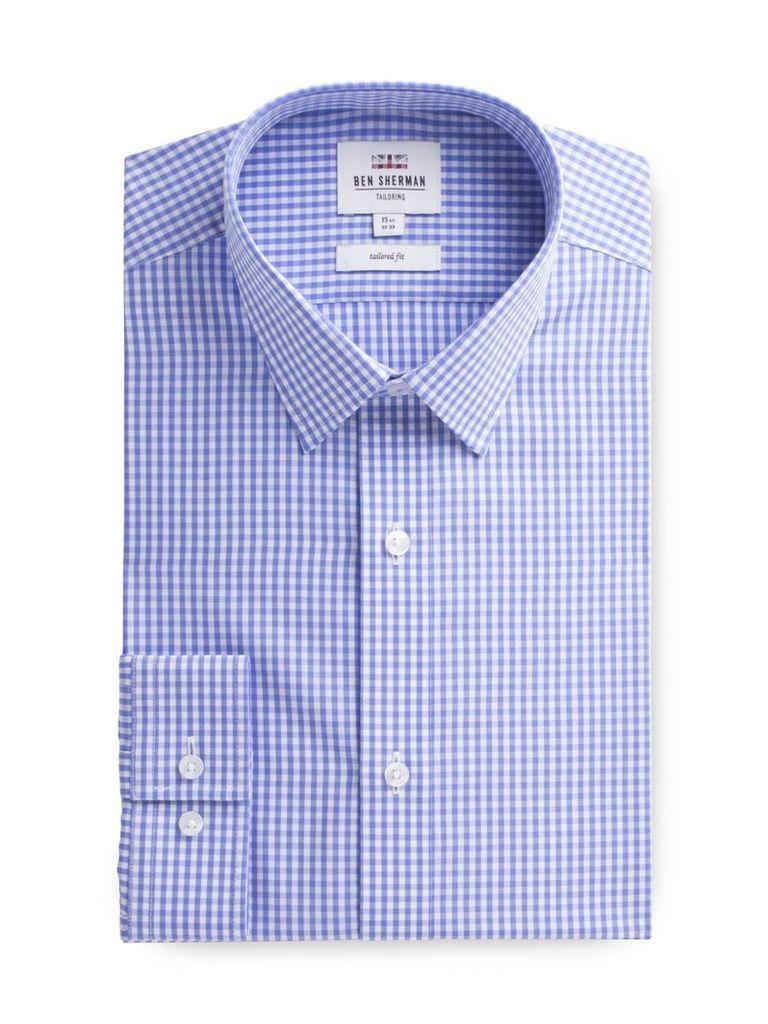 Long Sleeve Gingham Check Shirt 18 Blue