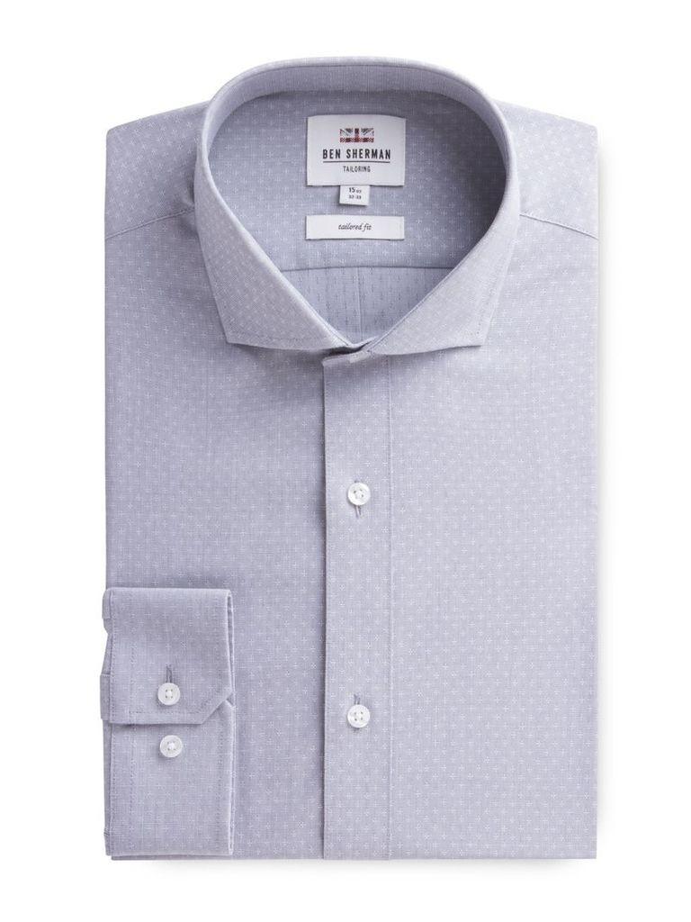 Long Sleeve Grey Dobby Formal Shirt 18 Grey