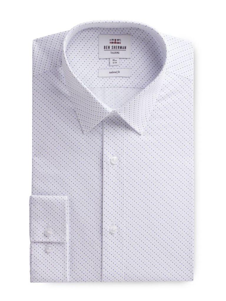 Long Sleeve Spot Print Formal Shirt 18 White