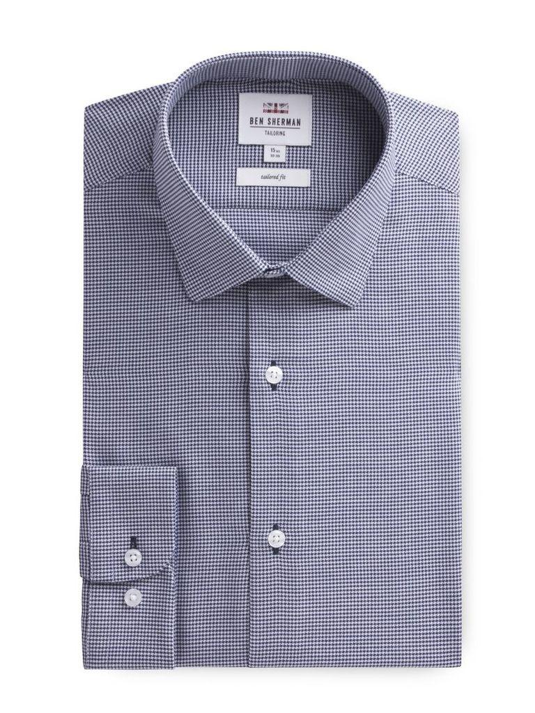 Long Sleeve Puppytooth Formal Shirt 18 Navy