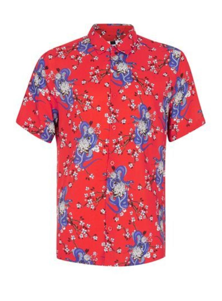 Mens Red Snake Print Short Sleeve Viscose Shirt, Red