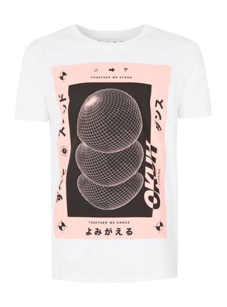 Mens OKUH White And Pink Together We Stand Print T-Shirt, Pink