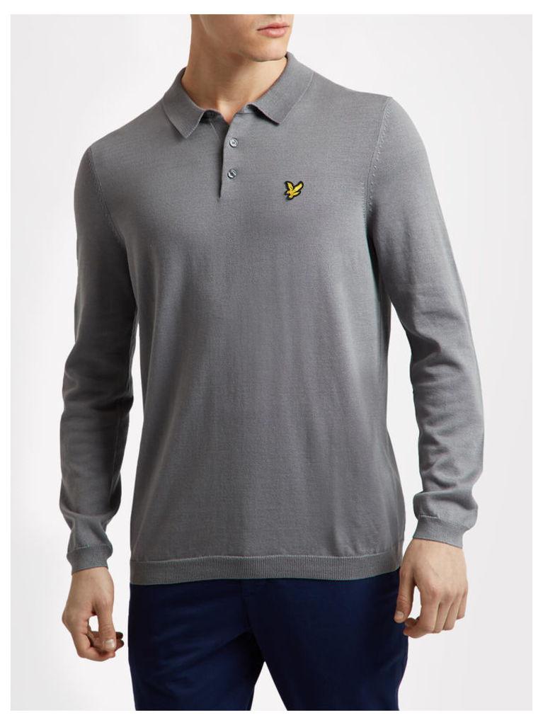 Lyle & Scott Long Sleeve Mercerised Cotton Knitted Polo Shirt
