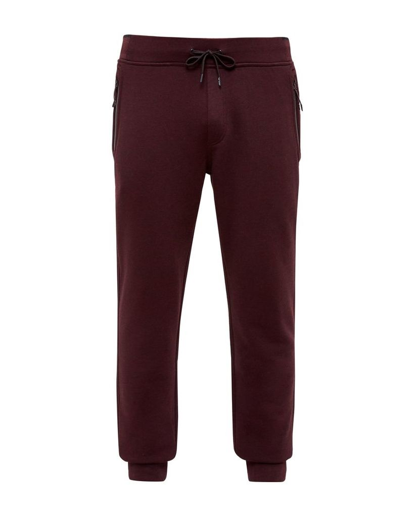 Men's Ted Baker Clube Jersey Cuffed Trousers, Dark Red