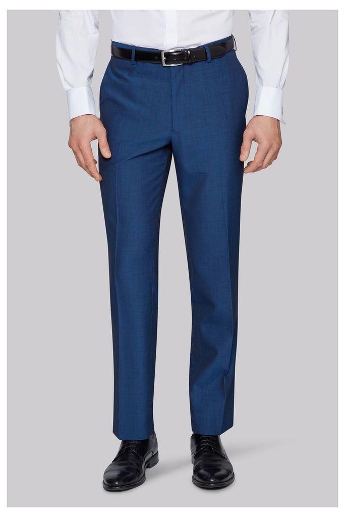 Moss Esq. Regular Fit Peacock Blue Trouser