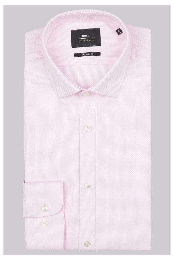 Moss London Premium Extra Slim Fit Pink Single Cuff Basket Weave Shirt