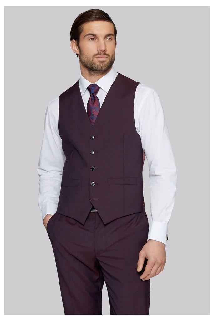 Moss Esq. Regular Fit Burgundy Waistcoat