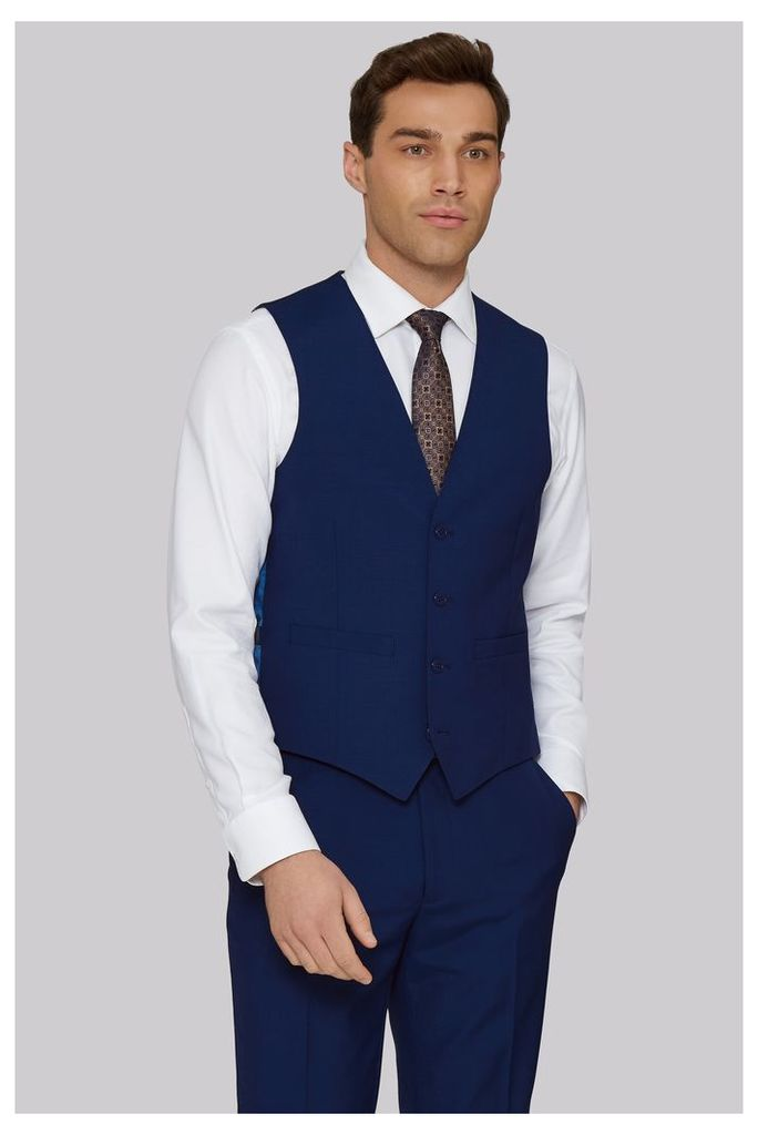 Moss 1851 Tailored Fit Bright Blue Waistcoat