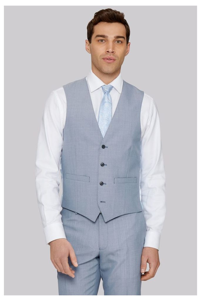 Moss 1851 Tailored Fit Ice Blue Waistcoat