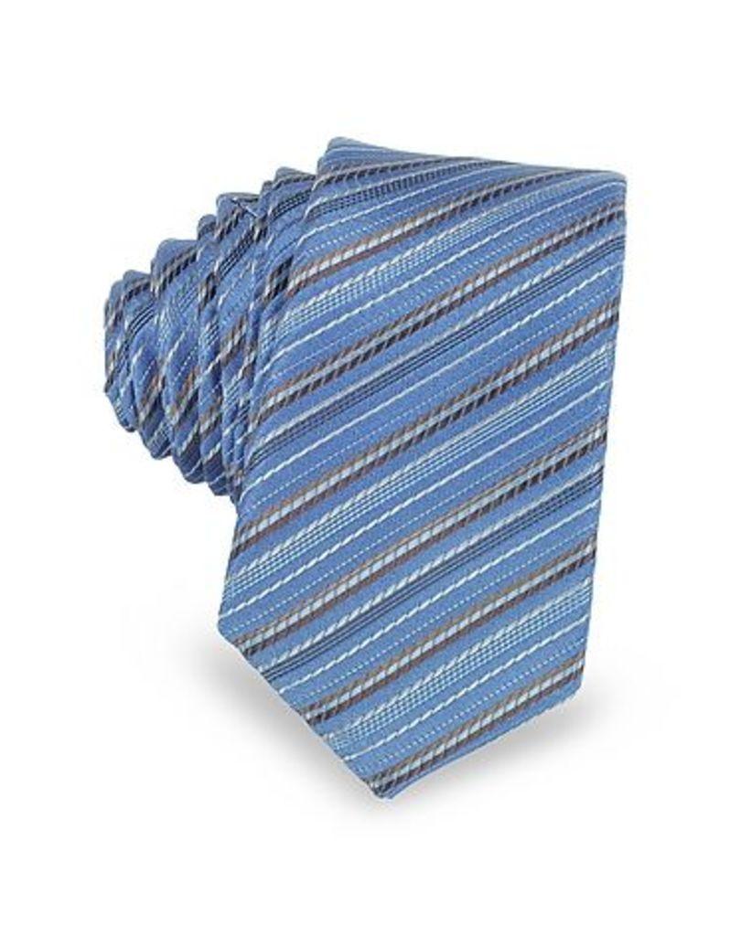 Laura Biagiotti - Light Blue and Brown Diagonal Stripe Woven Silk Extra-Narrow Tie