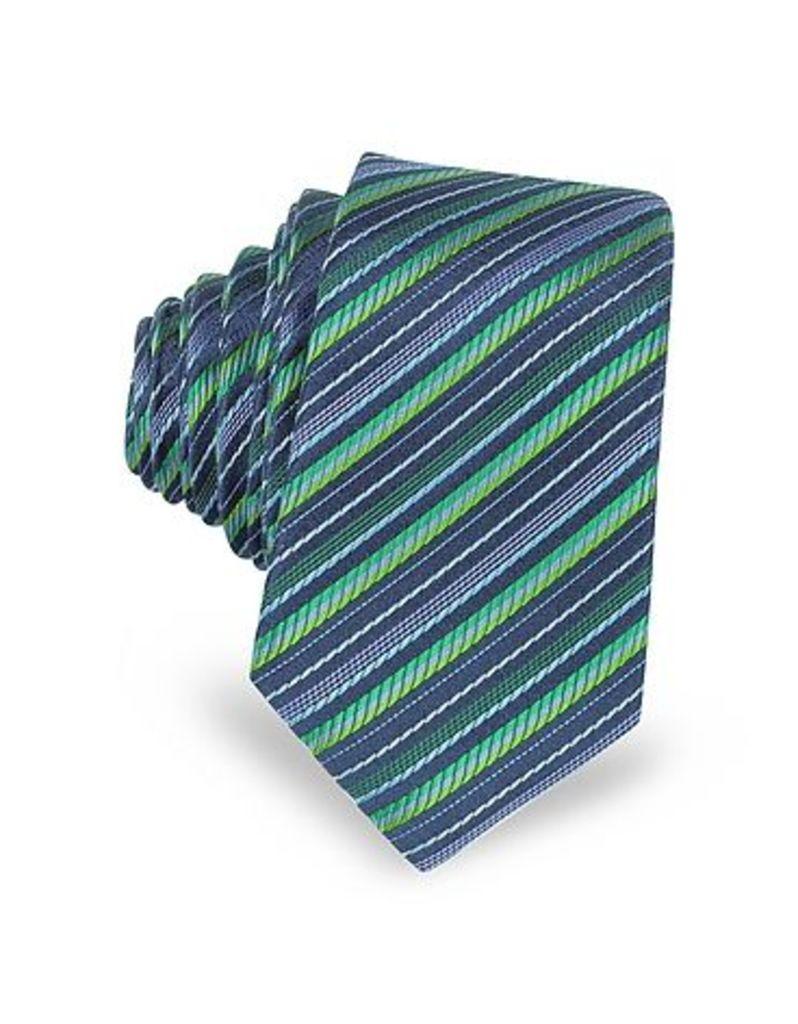 Laura Biagiotti - Navy Blue and Green Diagonal Stripe Woven Silk Extra-Narrow Tie