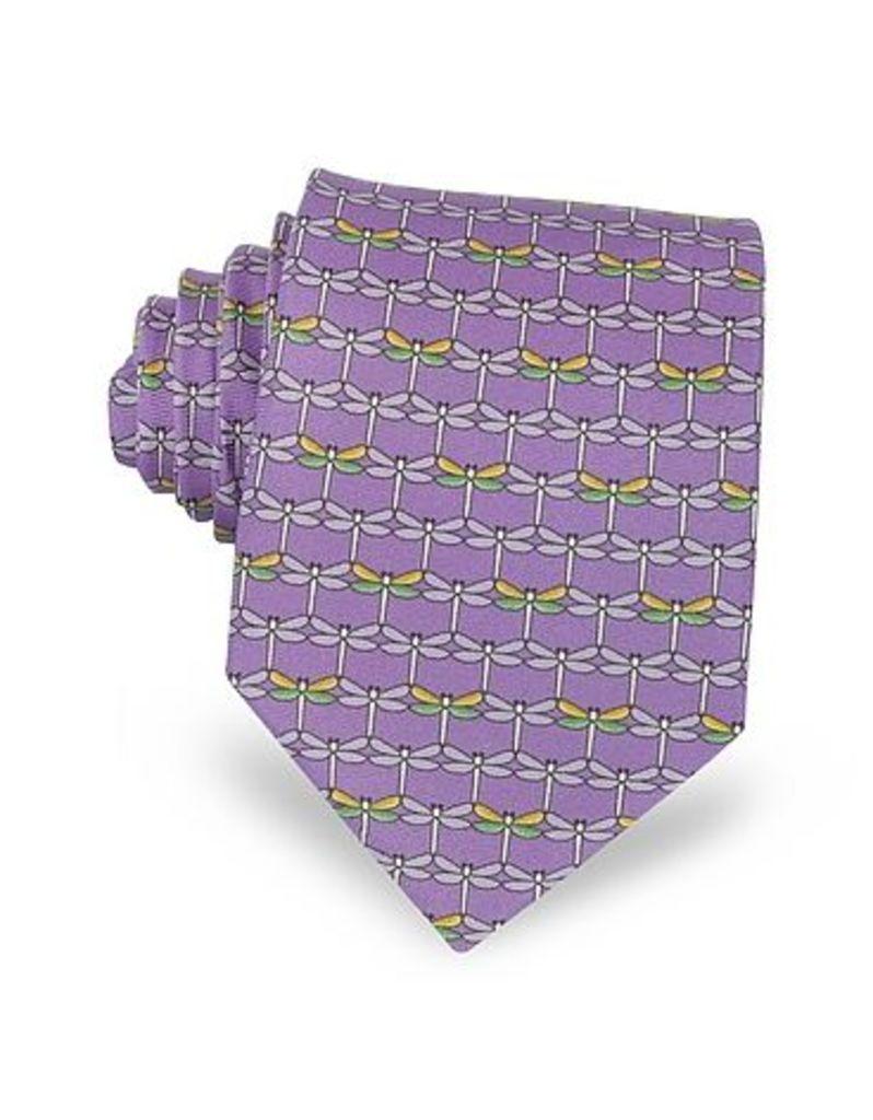 Laura Biagiotti - Purple Dragonflies Print Twill Silk Tie