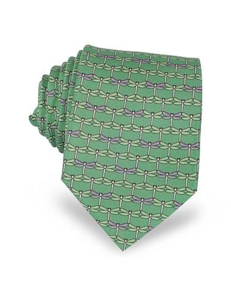 Laura Biagiotti - Green Dragonflies Print Twill Silk Tie
