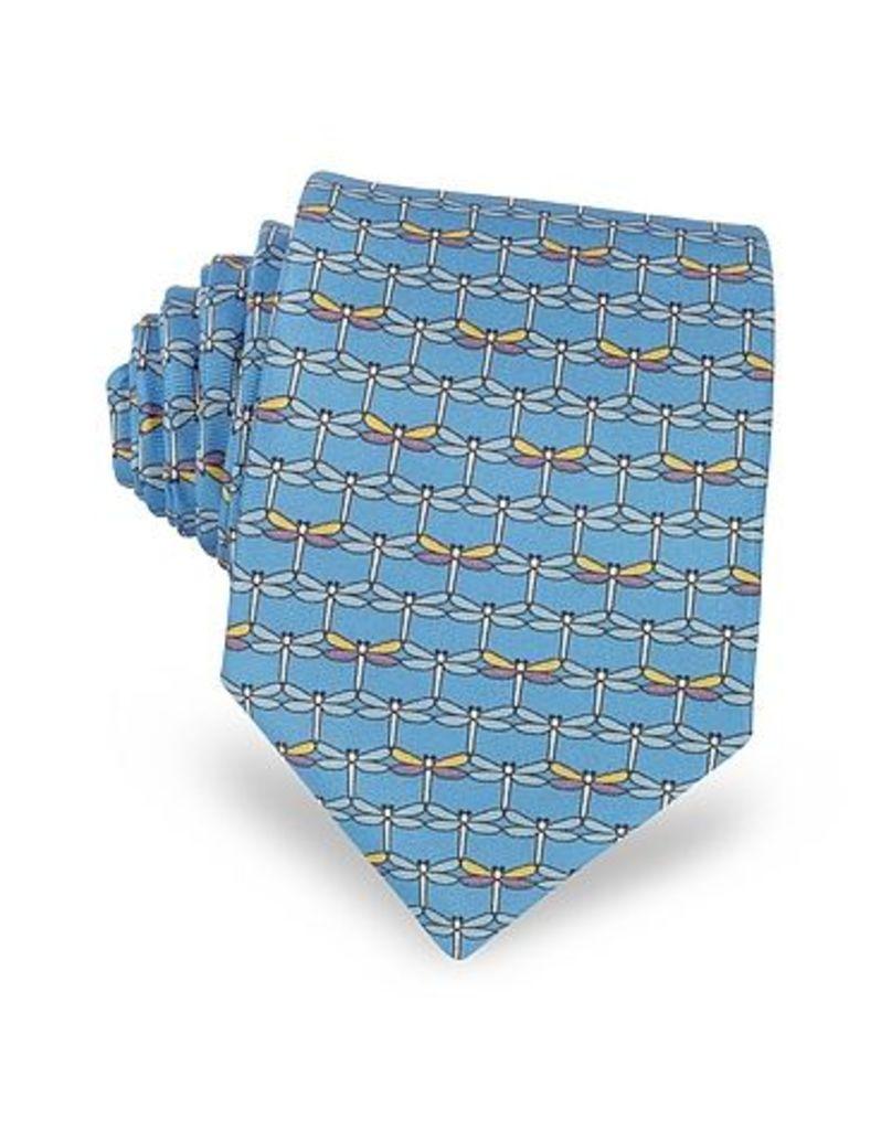 Laura Biagiotti - Light Blue Dragonflies Print Twill Silk Tie