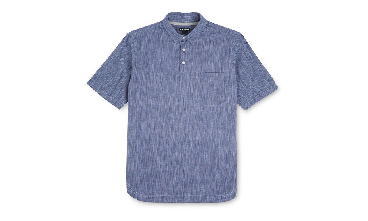 Chambray Woven Polo Shirt