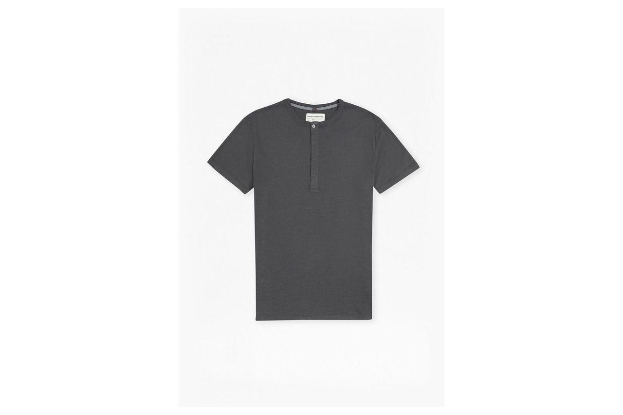 Plain Henley Short Sleeve T-Shirt  - charcoal