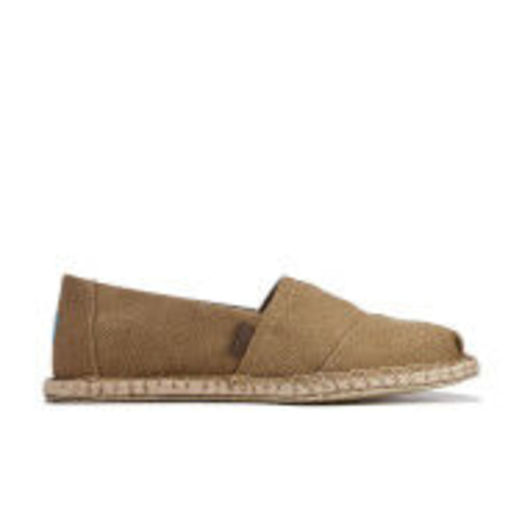 TOMS Men's Seasonal Classics Washed Canvas Espadrille Slip-On Pumps - Toffee Washed Canvas/Blanket Stitch - UK 10/US 11