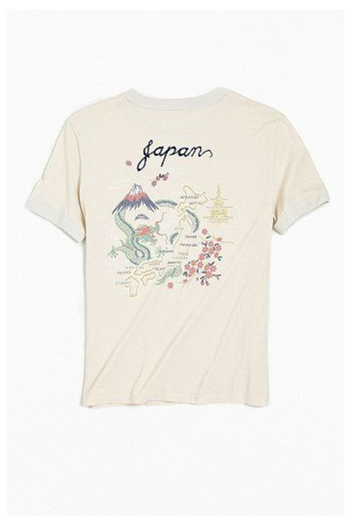 Fanclub Japan Souvenir Ringer T-shirt, WHITE