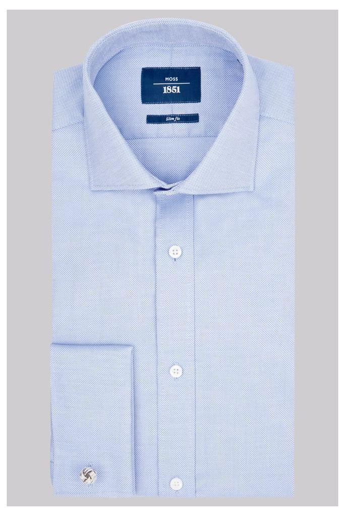 Moss 1851 Slim Fit Sky Double Cuff Oxford Textured Shirt
