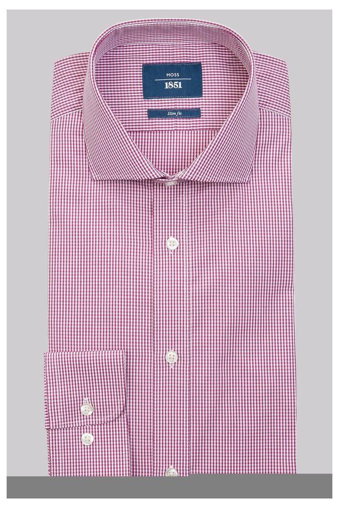 Moss 1851 Slim Fit Mulberry Single Cuff Gingham Shirt