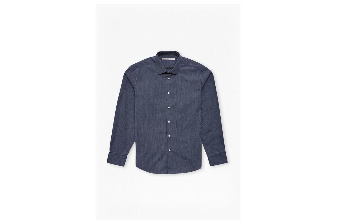 Navy Textured Skinny Stripe Shirt  - navy