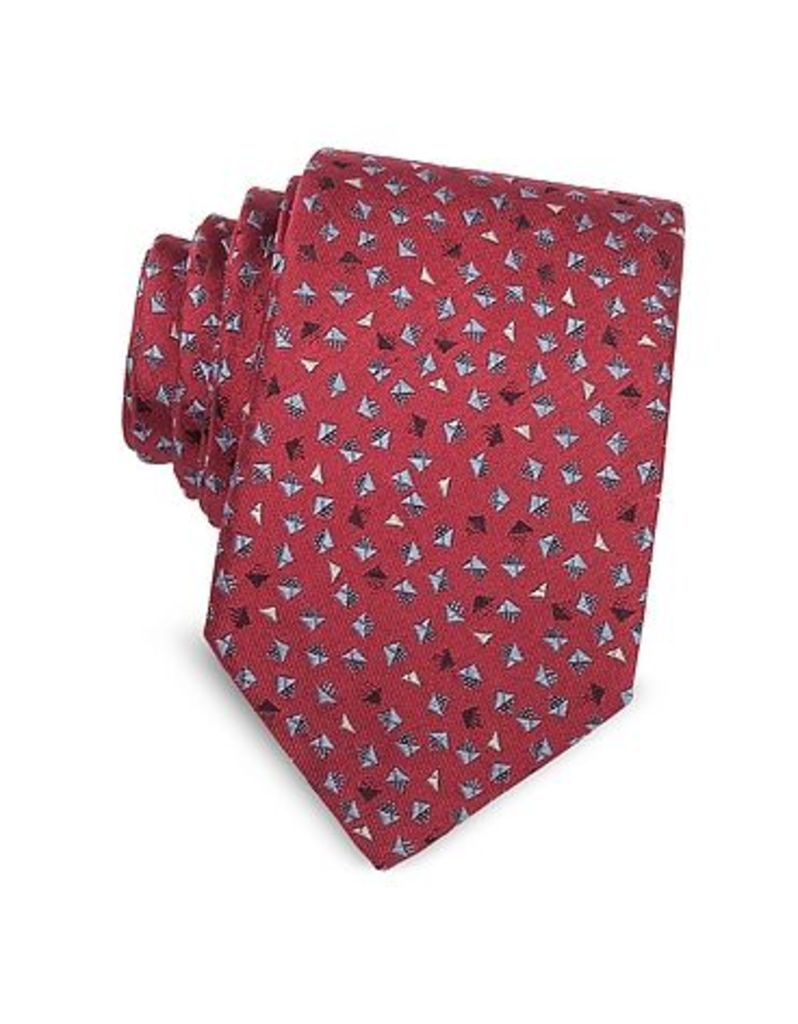 Lanvin - Geometric Square Patterned Woven Silk Tie
