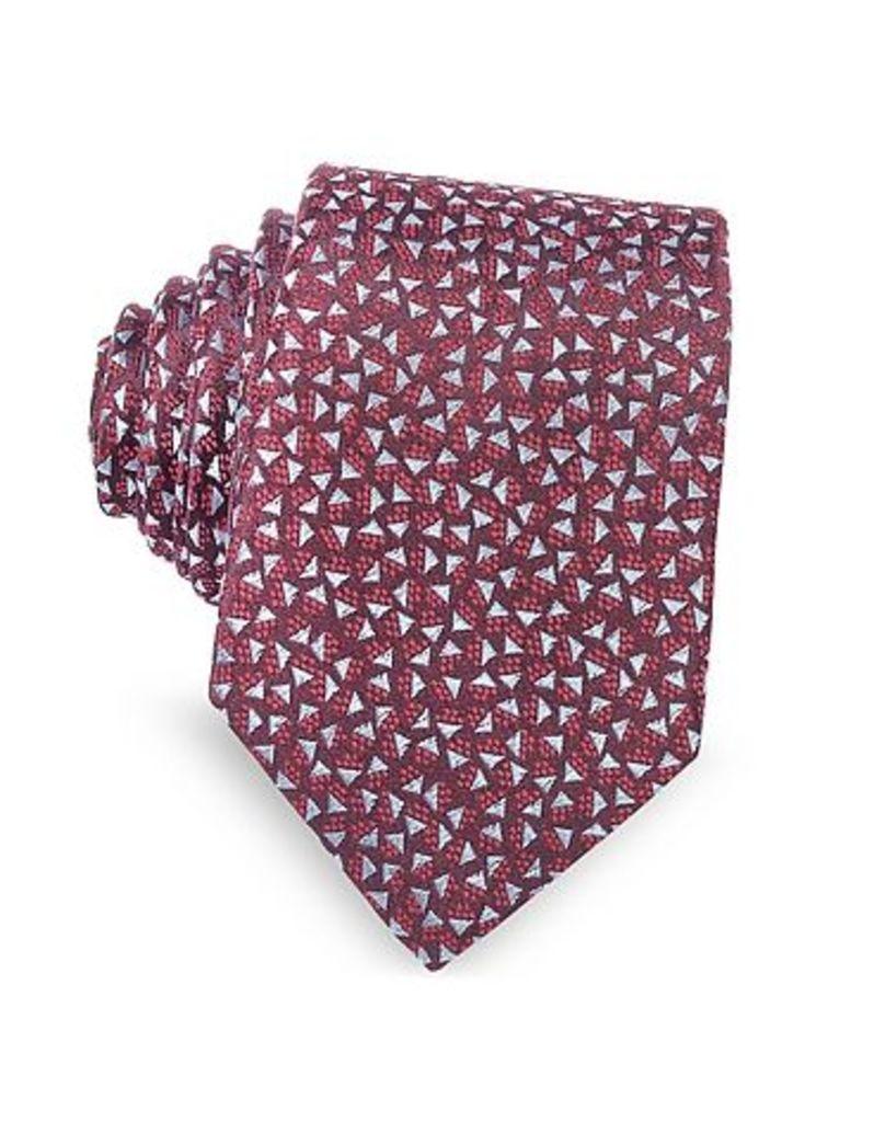 Lanvin - Burgundy Geometric Square Patterned Woven Silk Tie