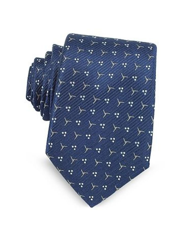 Lanvin - Navy Blue Patterned Woven Silk Tie