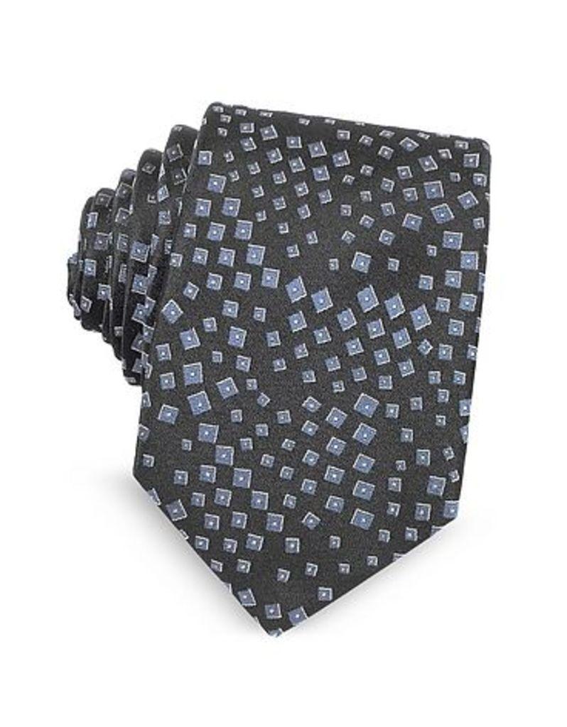 Lanvin - Geometric Pattern Woven Silk Tie