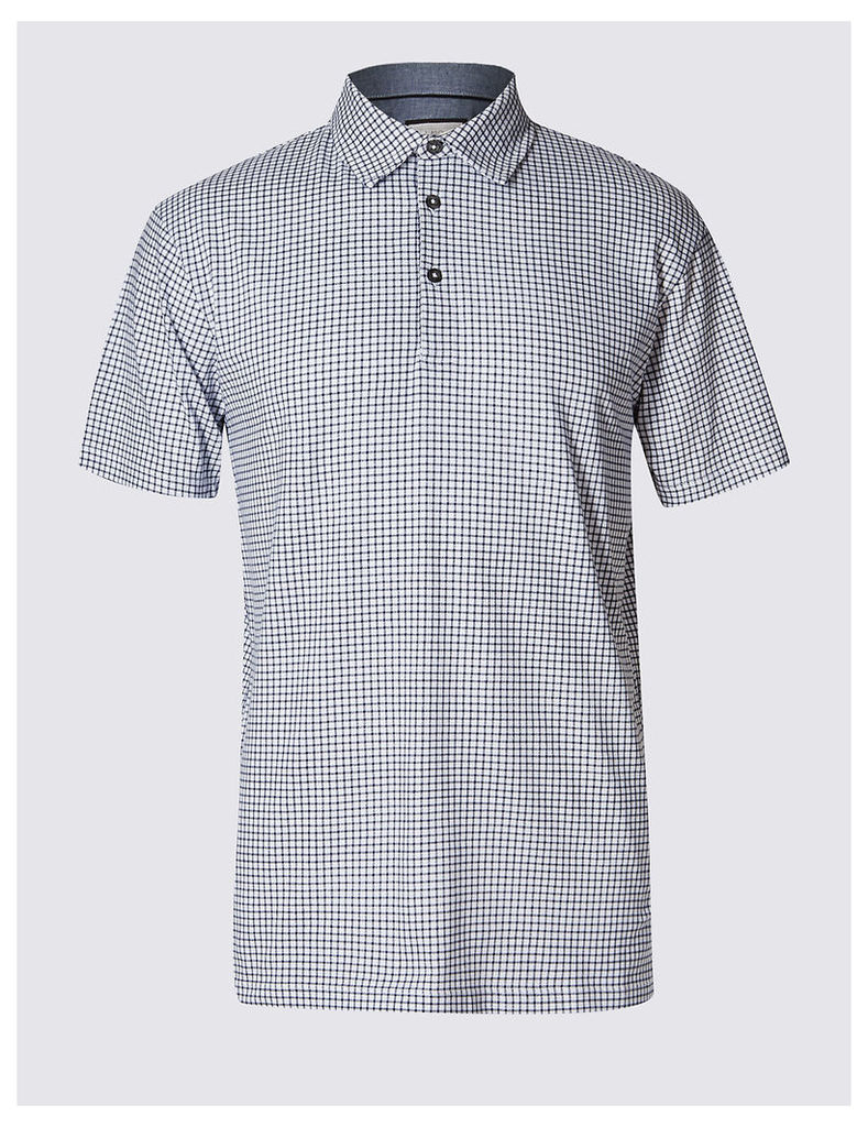 M&S Collection Big & Tall Pure Cotton Checked Polo Shirt