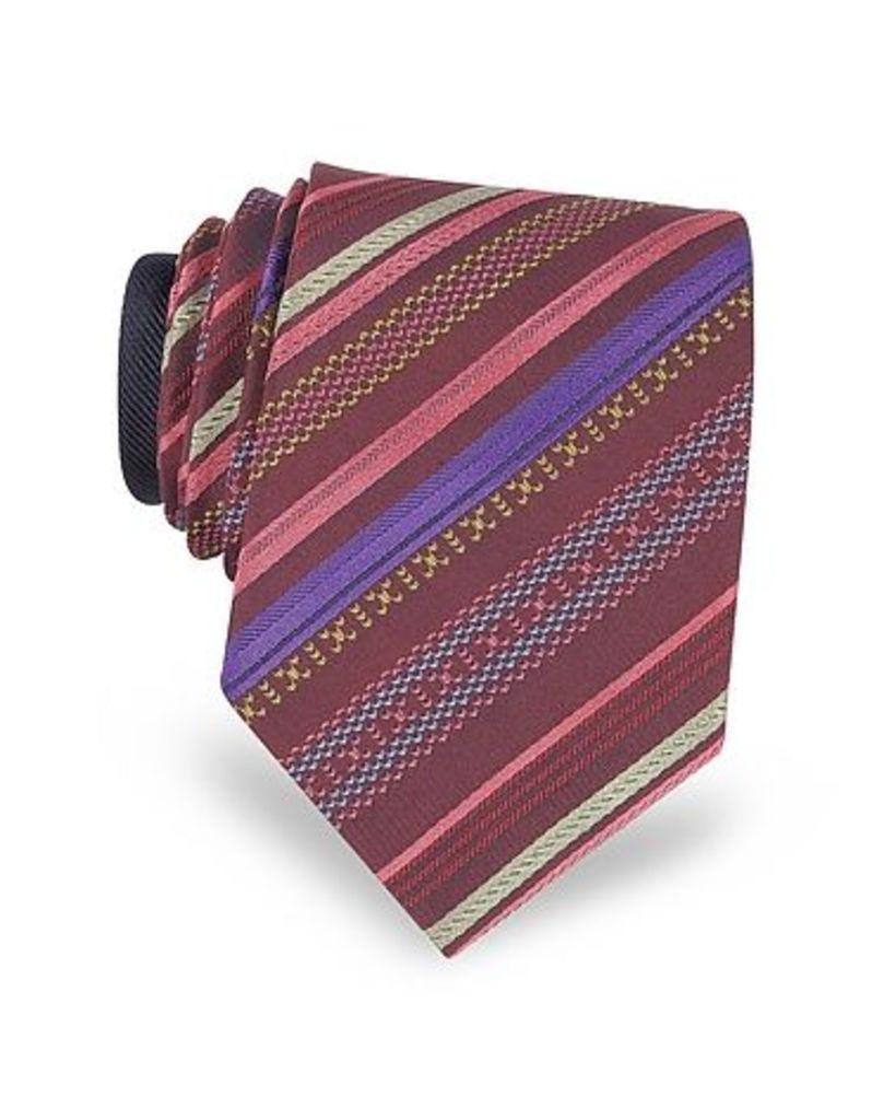 Missoni - Burgundy Diagonal Stripe Woven Silk Narrow Tie