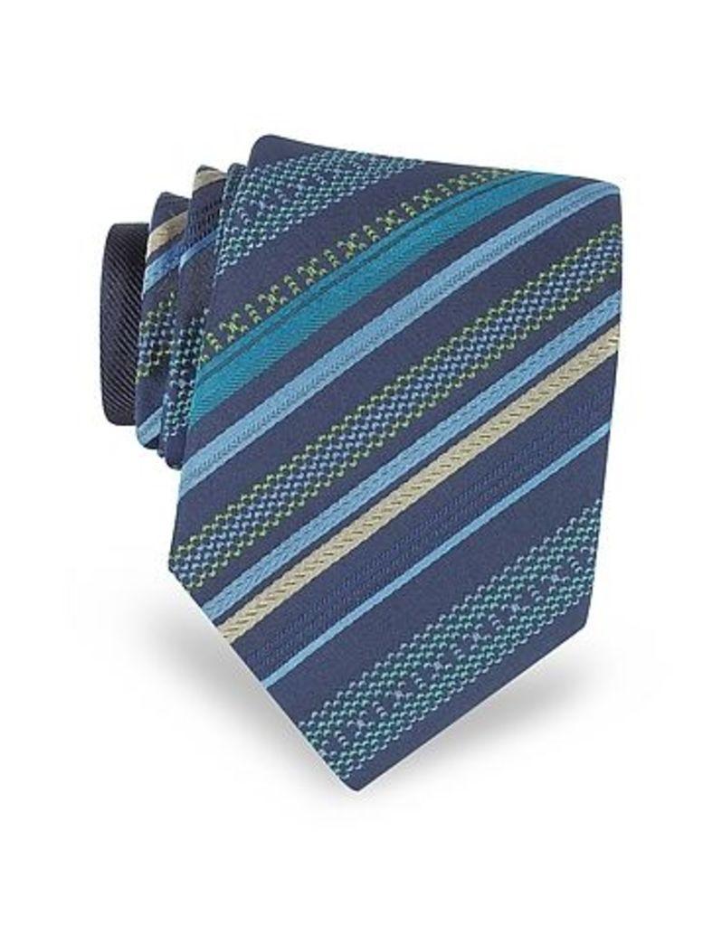 Missoni - Navy Blue Diagonal Stripe Woven Silk Narrow Tie