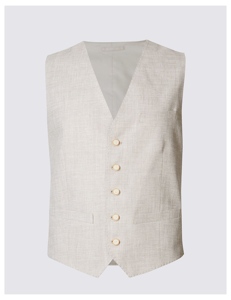 M&S Collection Linen Miracle Regular Fit Waistcoat