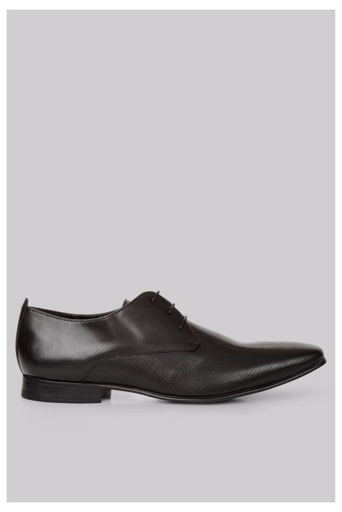 Moss London Charlton Pindot Black Derby Shoes