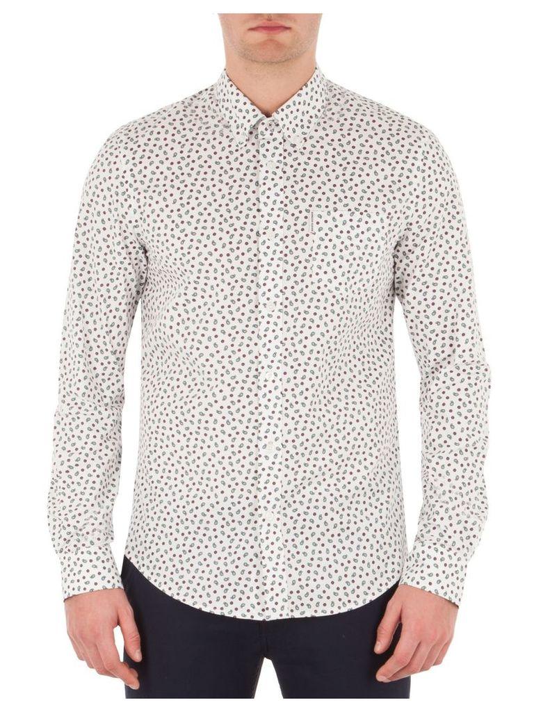 Long Sleeve Geo Paisley Shirt XXXL A47 Bright White
