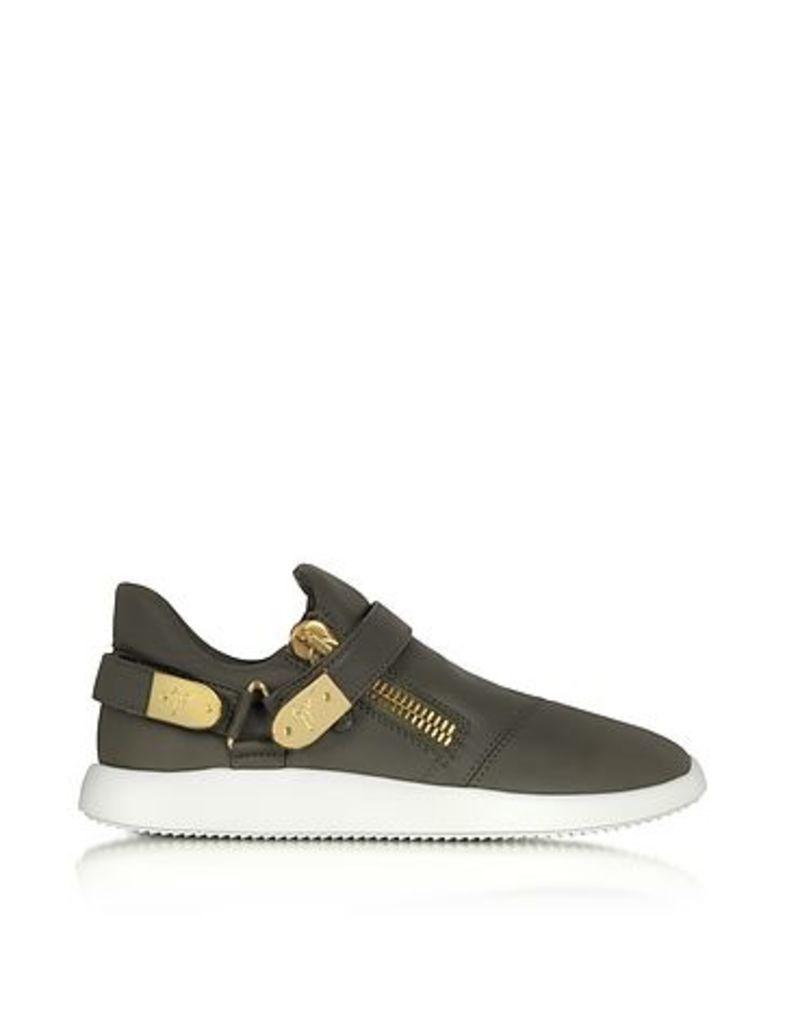 Giuseppe Zanotti - Military Green Gommato Leather Low Top Men's Sneakers