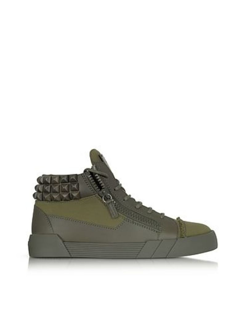 Giuseppe Zanotti - Commando Military Green Canvas and Leather Studded Sneakers